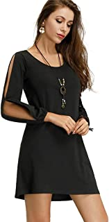 8f8c0904f37f Floryday Fashion Women Dress Solid Cold Shoulder Sleeve Shift Above Knee  Long Sleeve Swing Casual Dress