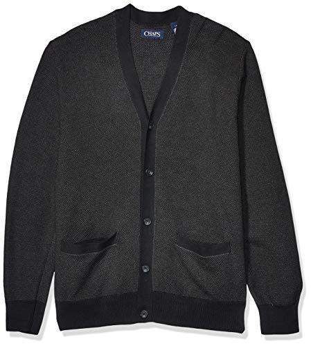 Chaps Men's Soft Cotton Cardigan Sweater, Black Multi, XL