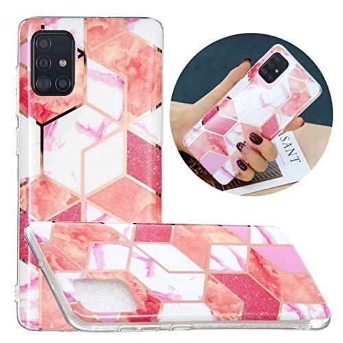 Carcasa para Samsung Galaxy A52 5G, diseño de mármol con purpurina brillante híbrida, delgada, a prueba de golpes, flexible, ultrafina, silicona de gel suave, para Samsung Galaxy A52 5G, color rosa