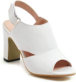 Women Sandals Square High Heel Peep Toe Pu Leather Slingback Cut Outs Sexy Shoes 34-39