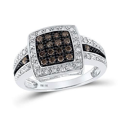 Saris and Things Oro Blanco 10k Redondo para Mujer de Brown del Cuadrado del Diamante del Anillo de racimo Medio cttw