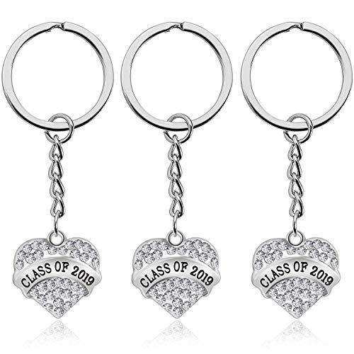 7-Almond 3 Pieces Graduation Keychains Class of 2019 Graduate Jewelry Gifts for Classmates, Teachers and Friends,Gifts for Him or Her Graduation Party Favor Ideas (Silver)