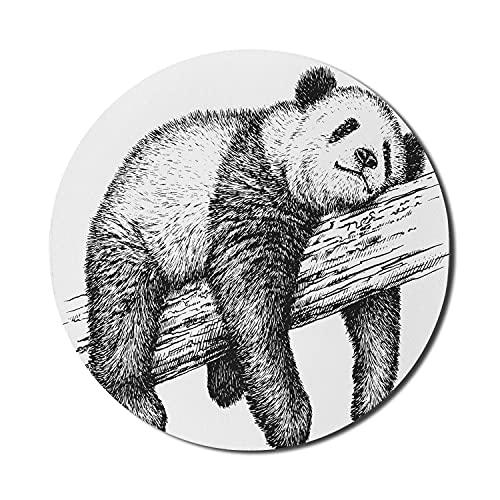 Alfombrilla de ratón en blanco y negro para ordenadores, oso panda gigante durmiendo en una rama grande Criatura mullida con parches, redonda antideslizante de goma gruesa moderna alfombrilla de ratón