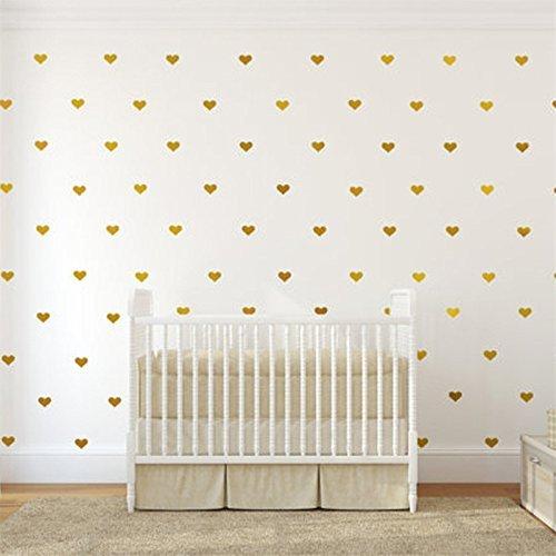 Herzen Aufkleber Wandsticker Wandtattoo Wanddeko Wandaufkleber Sticker Wanddeko für Babyzimmer/ Kinderzimmer Schlafzimmer Deko,Gold,4CM,60Stück