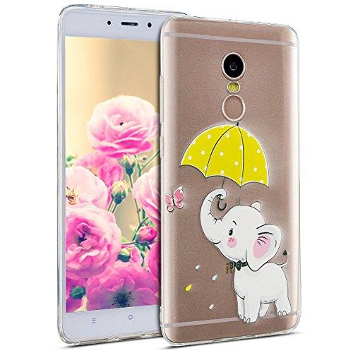 Uposao Kompatibel mit Hülle Xiaomi Redmi Note 4X Silikon Handyhüllen Schöne Muster Durchsichtige Ultradünn Schutzhülle Transparent Silikon Bumper Clear Backcover,Weiß Elefant