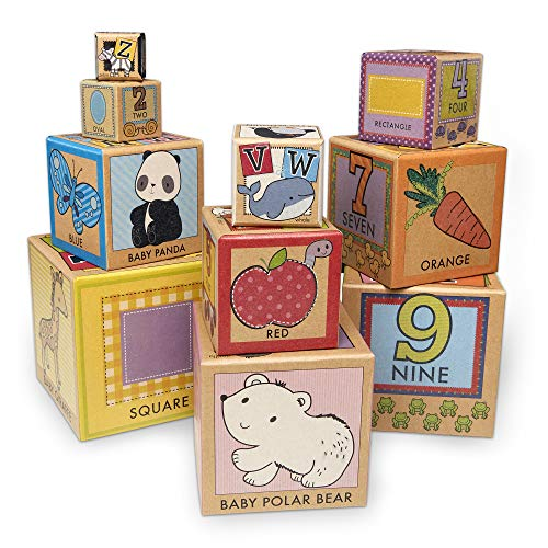 Melissa & Doug Natural Play Early Learning 10 Stacking & Nesting Cardboard Blocks