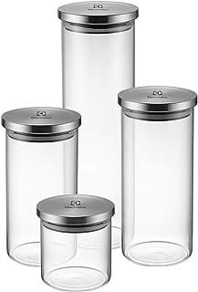 Kit Potes de Vidro Hermético, 4 unidades, Tampa Inox, Electrolux