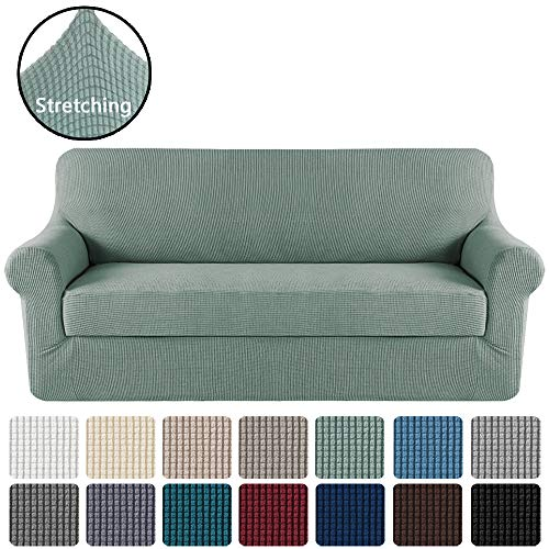H.VERSAILTEX Stretch Sofa Covers 2 Piece for 3 Cushion Large Couch Covers Sofa Slipcovers Furniture Covers (Base Cover & Seat Cushion Cover) Feature Deluxe Textured Jacquard (XL Sofa, Sage)