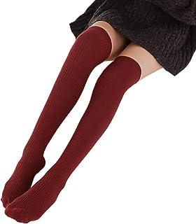 MoreChioce, Color Sólido Mujeres Calcetines Hasta la Rodilla,Moda Elástica Calcetines Largos para Buena Combinación con Minifaldas,Pantalones Cortos,Botas
