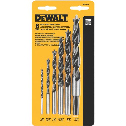 DEWALT Drill Bit Set, Brad Point, 6-Piece (DW1720),Black