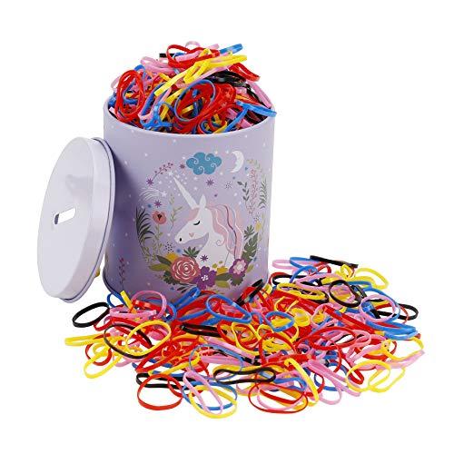 Mini Bands Elastique, Attache Cheveux Multicolore et Simple en Elastiques Petits Caoutchouc Bandeaux de Queue de Cheval Accessoires pour Femme Bébés Fille 2000 Pièces