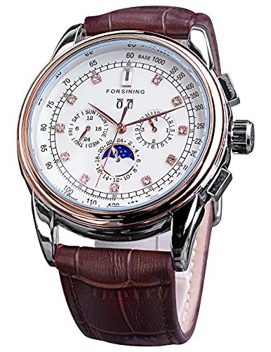 Forsining Relojes mecánicos de diamantes de gran dial de lujo calendario completo relojes automáticos para hombres alta calidad Cuero auténtico relojes de pulsera marca superior
