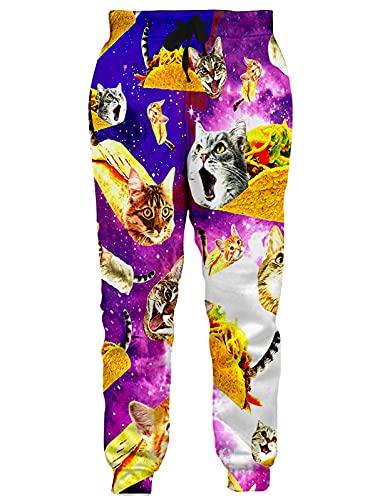 RAISEVERN Unisex Sportswear Pants 3D Taco Cat...