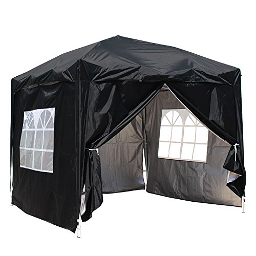 Greenbay Black Heavy Duty Pop-up Gazebo Marquee Canopy with 4 Side Panels and Carrybag - 2m x 2m