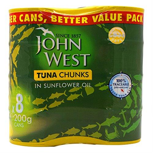 John West Thunfisch-Klumpen im Sonnenblumenöl - 8 x 200gm