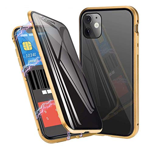 Anti-Spy Anti-Peeping Privacy Magnetic Case for iPhone 11 Pro Max Clear Double Sided Tempered Glass [Magnet Absorption Metal Bumper Frame] Thin Anti-Spy 360 Full Protective Phone (Gold, 11 Pro Max)