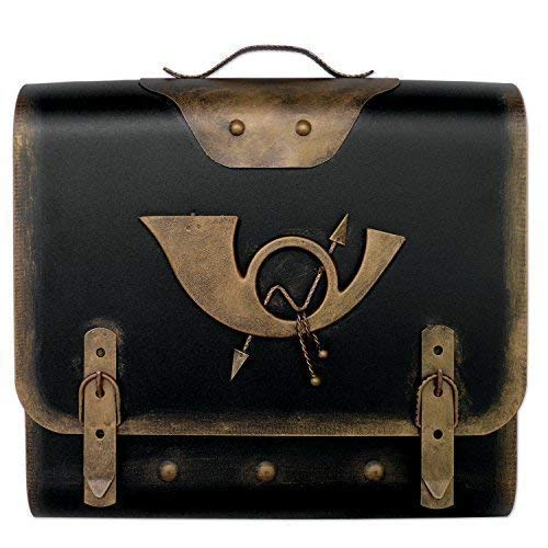 Briefkasten alter Ranzen mit Posthorn im Antik-Look - Schwarz-Gold - Posthorn 3: Farbe: SG Schwarz-Gold | Entnahme: Rechts
