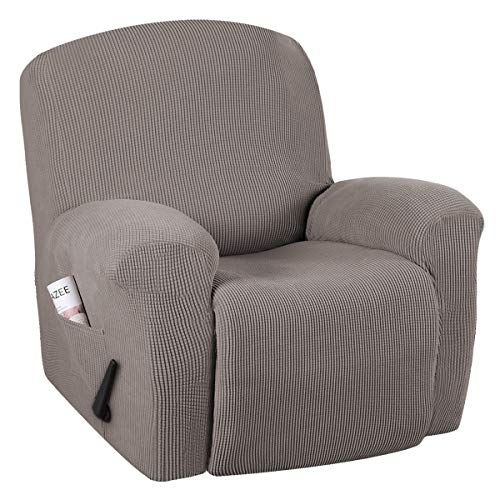 Stretch Recliner Slipcovers 1-Piece Durable Soft High Stretch Jacquard Sofa Furniture Cover Form Fit Stretch Stylish Recliner Cover/Protector (Recliner, Taupe)