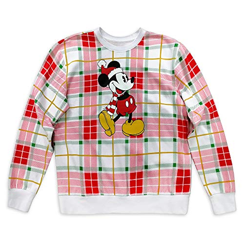 Disney Mickey Mouse Holiday Plaid Pullover for Women, Size S