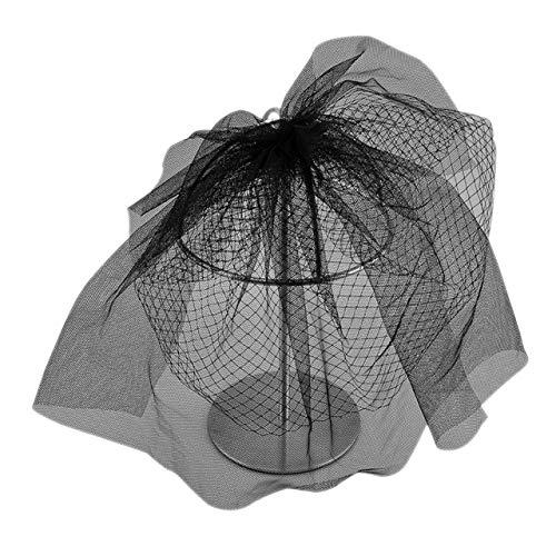 CHIC DIARY Brautschleier Schwarz Hochzeitskleid Schleier Kurz Netzschleier für Cocktail Hochzeit JGA Halloweenkostüm