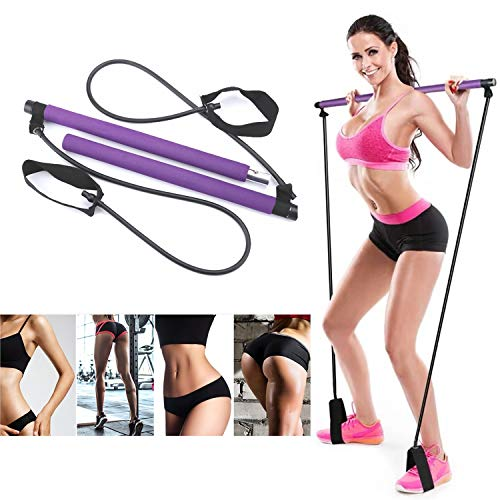 Artoflifer Exercise Resistance Band Yoga Pilates Bar Kit Portable Pilates Stick Muscle Toning Bar Home Gym Pilates with Foot Loop for Total Body Workout Purple