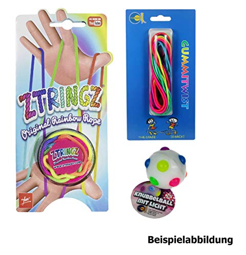 Fun Trading Regenbogen Set - ZSTRINGZ Fadenspiel - Gummitwist Hüpfspiel - Knubbelball Gummiball