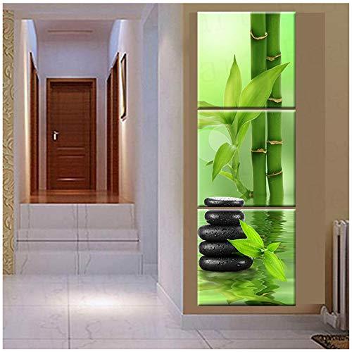 YANGYANGFBH Leinwand Bilder Wandkunst Leinwand Malerei Stein Bambus Dekoration Für Wohnzimmer-50x50 cm Kein Rahmen