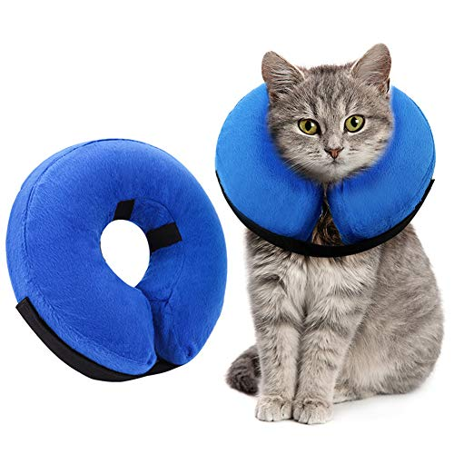AhlsenL Inflatable Dog Cone Collar, Protective Soft Pet Recovery Collar Prevent Dogs Cats from Biting & Scratching (S)