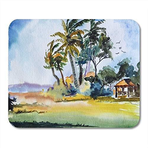 Mauspads Blue Beach Original Aquarellmalerei der tropischen Szene Palm Mouse Pad für Notebooks, Desktop-Computer Matten Büromaterial