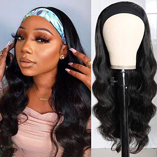Headband Wig for Black women Body Wave Human Hair Wigs None Lace Front Wigs Brazilian Virgin Hair Machine Made Wigs Headband Wig Ice Silk Headband Half Wig 150% Density 14 Inch