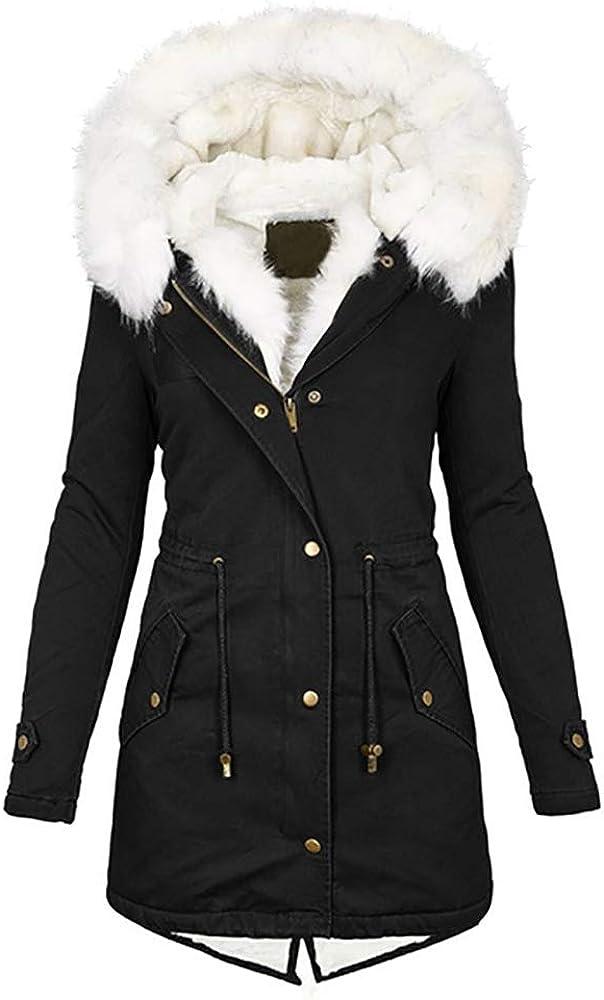 Kaxindeb Women's Winter Warm Zipper Up Hooded Fleece Lined Jackets Parka Fur Coats