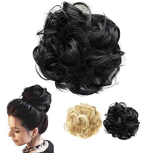 1 Stück Haarteil Haargummi Hair Extensions, Synthetik Haare für Haarknoten Hochsteckfrisuren, Unordentlicher Dutt Gummiband Haarverlängerung Haarband