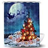 1 pieza Cortina de ducha navideña Patrón de tema navideño Cortina de baño azul Cortina de ducha de poliéster impermeable con ganchos para decoración de baño navideña