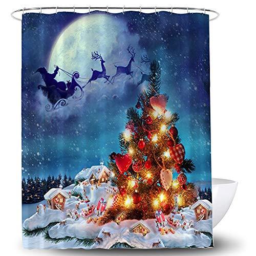 Lifreer 1PC Christmas Shower Curtain Christmas Theme...