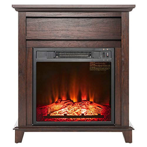 AKDY 27' Electric Fireplace Freestanding Brown Wooden Mantel Firebox...