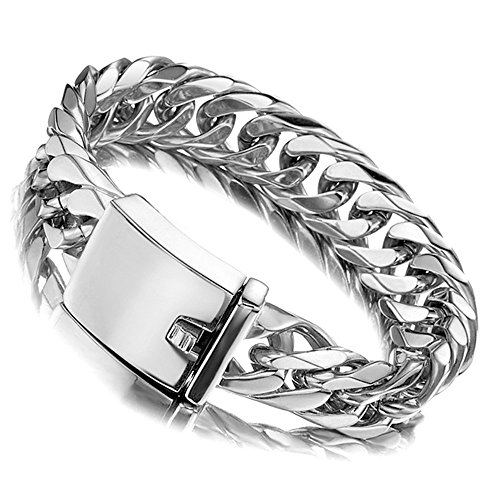 Jxlepe Miami Cuban Link Chain Bracelet 16mm Big Silver White Stainless Steel Curb Bangle for Men 8 inch