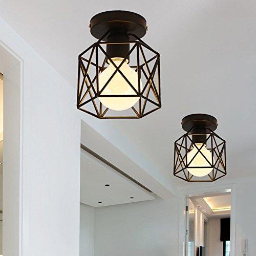 iDEGU plafondlamp, industriële, metaal, kooi, vierkant, kroonluchter, ijzer, E27, 40 W, zwart, voor woonkamer, slaapkamer, bar
