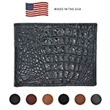 Black Genuine Leather Wallet – Crocodile Print - RFID Blocking - American Factory Direct - Slim Bill Fold - Made in USA by Real Leather Creations FBA1123