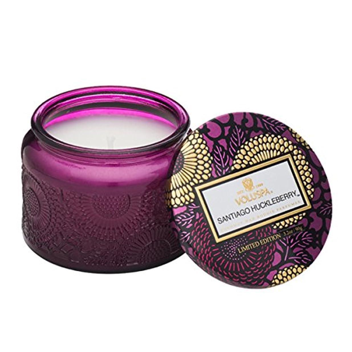 モート仕事に行く髄Voluspa ボルスパ ジャポニカ リミテッド グラスジャーキャンドル  S サンティアゴ ハックルベリー SANTIAGO HUCKLEBERRY JAPONICA Limited PETITE EMBOSSED Glass jar candle