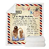 Allsmart to My Father Letter Printed Blanket, Double Layer Thickened Wool Blanket, Letter to Parents Printed Flannel Blanket, Machine Washable Winter Breathable Blanket(150x200cm for Mom)