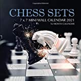 Chess Sets 7 x 7 Mini Wall Calendar 2021: 16 Month Calendar
