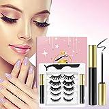 Magnetic Eyelashes with Eyeliner Kit,3D Upgraded Magnetic Eyelashes Kit with 5 Pairs Reusable False Eyelashes Natural Look, Tweezers and Eyeliner- Easy to Wear