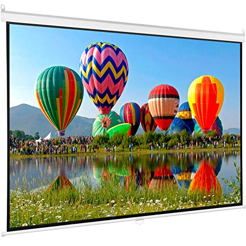 VIVO 80 inch Projector Screen, Diagonal 16:9 Projection HD Manual Pull Down Matte White Home Theater VIVO, PS-M-080