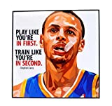 Pop Art Famous Basketball Player Inspiration Quotes [ Stephen Curry ] Framed Glossy Acrylic Canvas Fan Art Poster Prints Artwork Modern Wall Decor, 10'x10'