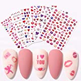 Nail Stickers for Women Nail Decals 3D Design Nail Decoration Self-Adhesive Tip Art Tattoo DIY 6 Sheets Colorful Love Arrow/ Rose Flower/ Dounts /Red Lip Print /Sweet Heart/ Love Letter Design