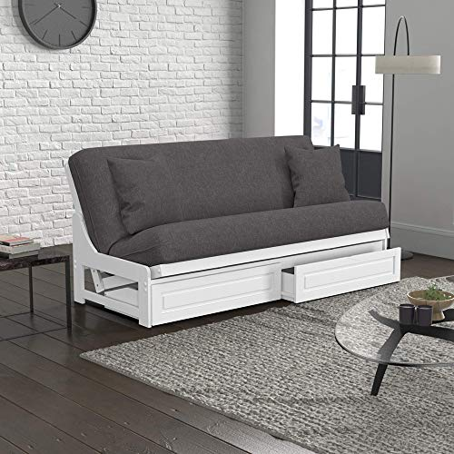 Nico Urban Loft Linen Series Convertible Sleeper Sofa Collection by Nirvana Futons - Queen Size White Armless Arden Futon Frame, Storage Drawers, Pillows, Mattress and Umax Gray Futon Cover Set