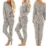 ZHANGNUO Chándal De Mujer Conjuntos De Pantalones con Estampado De Leopardo Ropa De Ocio Traje De Desgaste De Salón Pijamas De Mujer para Mujer Conjuntos De Pijamas Ropa De Dormir S/Gris