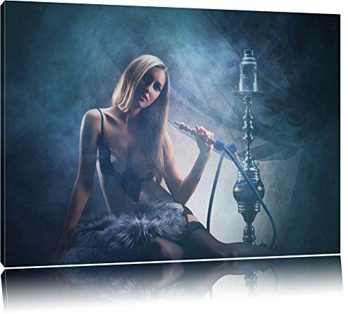 Schöne Frau mit Shisha im Nebel Format: 120x80 auf Leinwand, XXL riesige Bilder fertig gerahmt mit Keilrahmen, Kunstdruck auf Wandbild mit Rahmen, günstiger als Gemälde oder Ölbild, kein Poster oder Plakat
