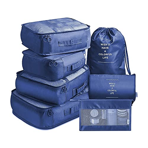ZWL Organizador de Equipaje,7 en 1 Set Impermeable Organizadores de Viaje para Maletas,4 Cubos de Embalaje +2 Bolsas de Almacenamiento+1 Saco de Zapatos,Armada