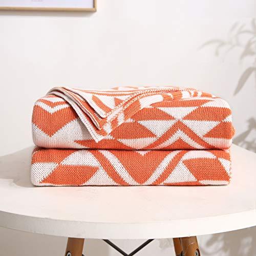 JESU filt för soffa, mjuk 100 % bomull stickad filtfilt, för soffa soffa säng stol bil kontor resor, orange, 130 x 160 cm (51 x 63 tum)